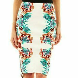 Bisou Bisou High Low Floral Pencil Skirt